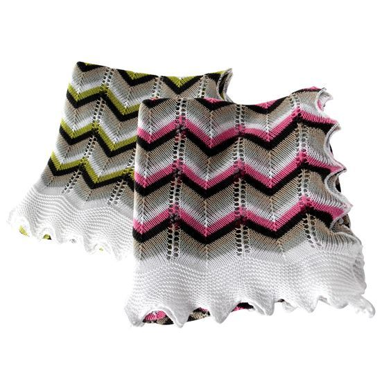 Multi-coloured Chevron Cotton Baby Shawl